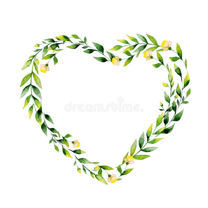 Fiore dell'acquerello e cuore gialli delle erbe illustrazione di stock