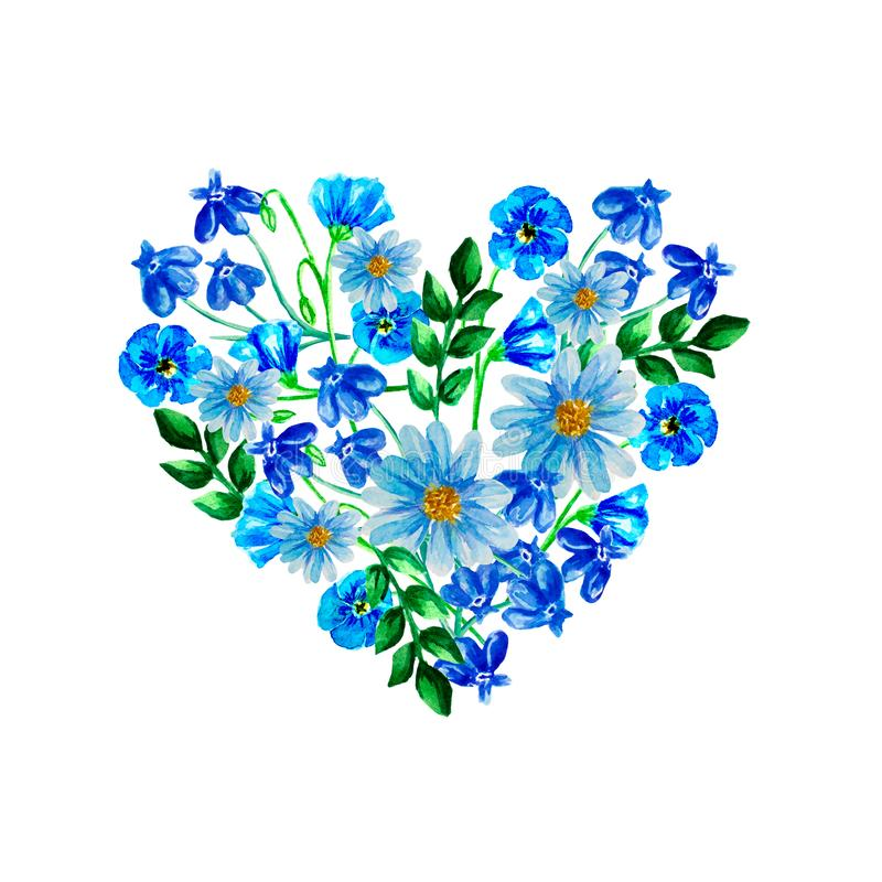 Fiore dell'acquerello, illustrazione floreale blu, foglia e germogli, percorso botanico di strato della composizione, fondo per l royalty illustrazione gratis