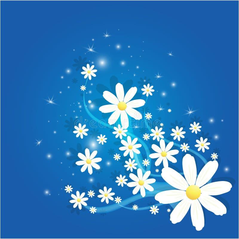 Fiore della camomilla di Matricaria con il fondo magico del abtract degli zecchini illustrazione di stock