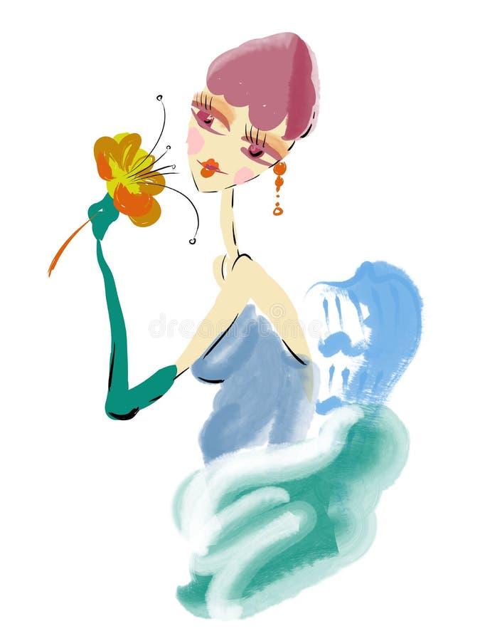 Fiore della holding della ragazza di bellezza in sue mani illustrazione vettoriale