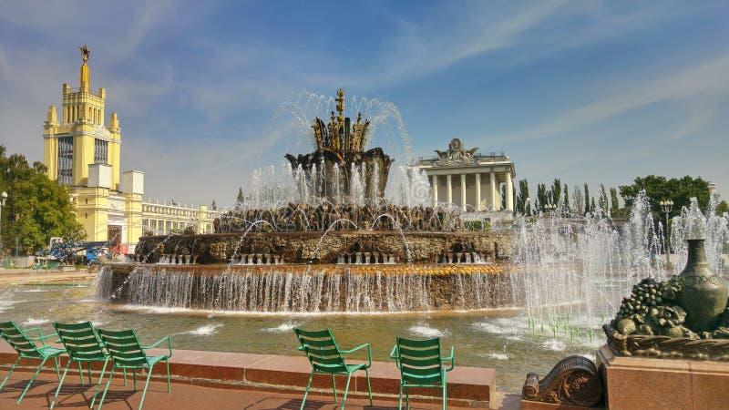 Fiore della pietra della fontana nel parco di VDNKh a Mosca fotografia stock