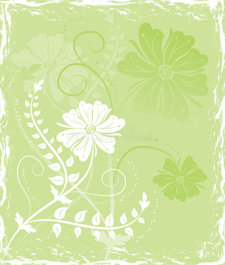 Fiore della priorità bassa di Grunge, elementi per il disegno, vettore illustrazione di stock
