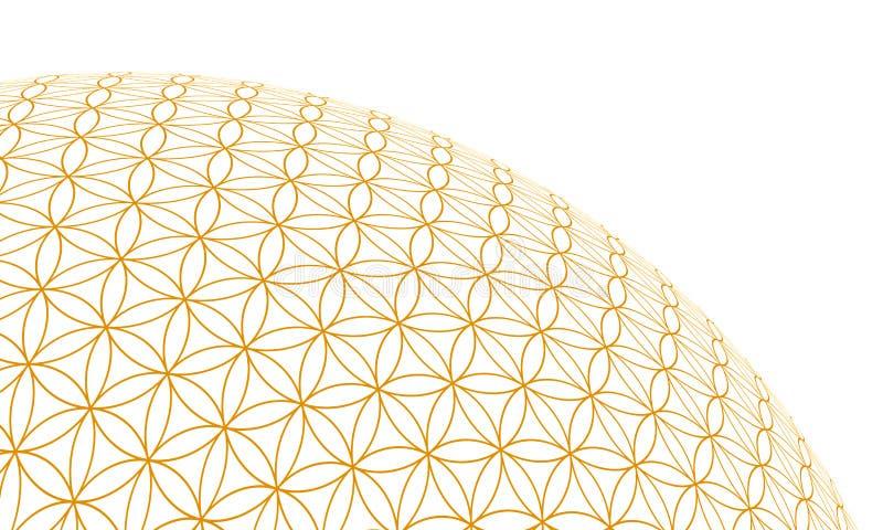 Fiore della sfera 2 dell'oro 3D di vita illustrazione vettoriale