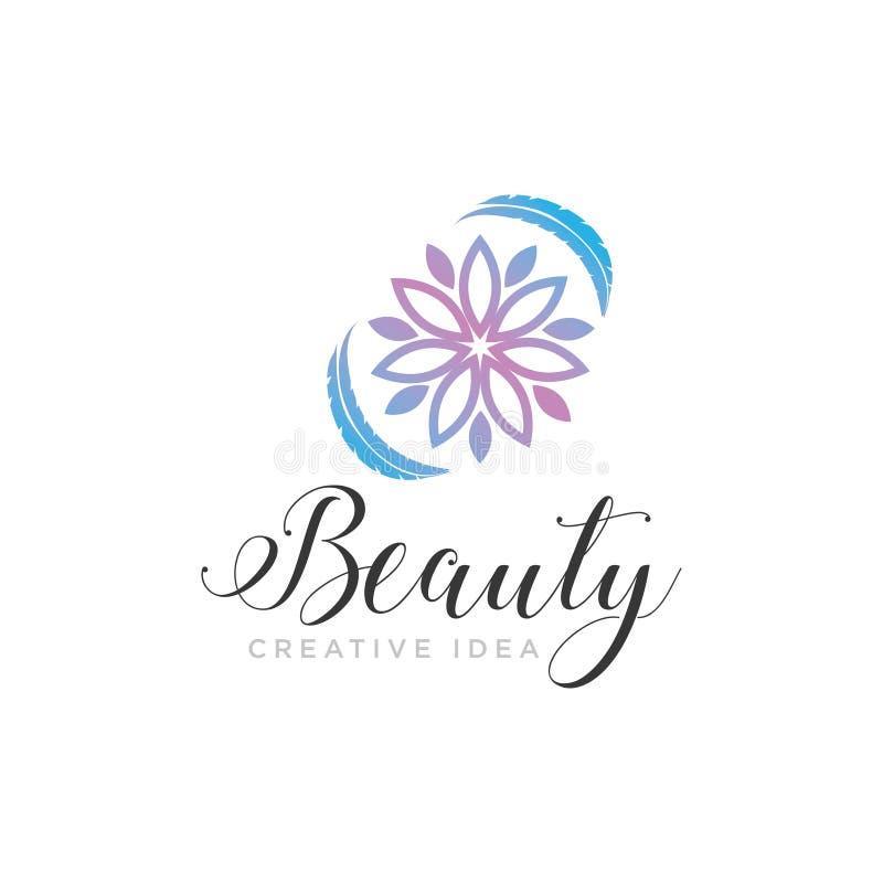 Fiore di bellezza con il modello di logo della natura della foglia illustrazione vettoriale