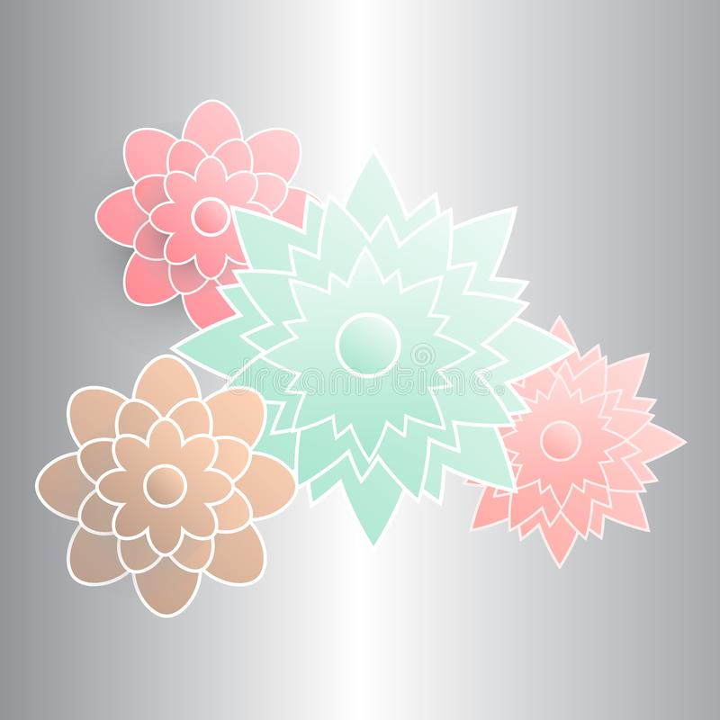 Fiore di carta del volume su fondo grigio per i progettisti e gli illustratori immagini stock libere da diritti