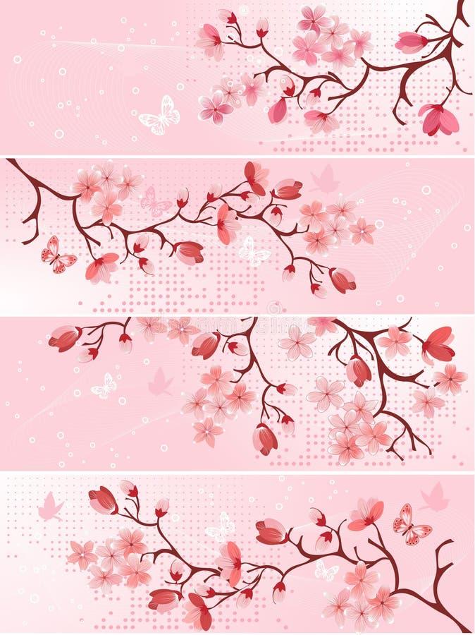 Fiore di ciliegia, bandiera. illustrazione vettoriale