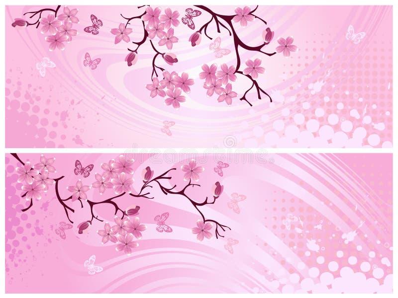 Fiore di ciliegia, bandiera. royalty illustrazione gratis