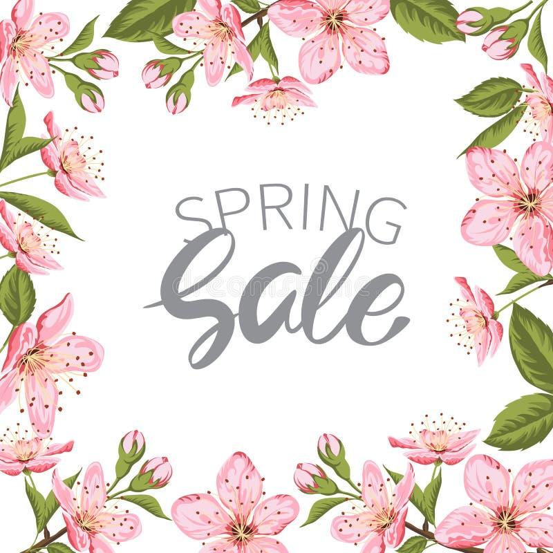 Fiore di ciliegia di vendita della primavera illustrazione di stock