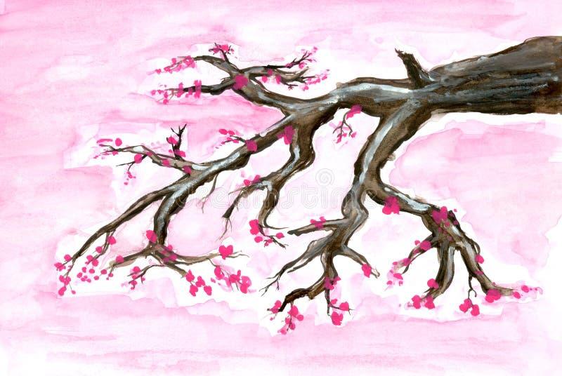 Fiore di ciliegia dipinto fotografia stock