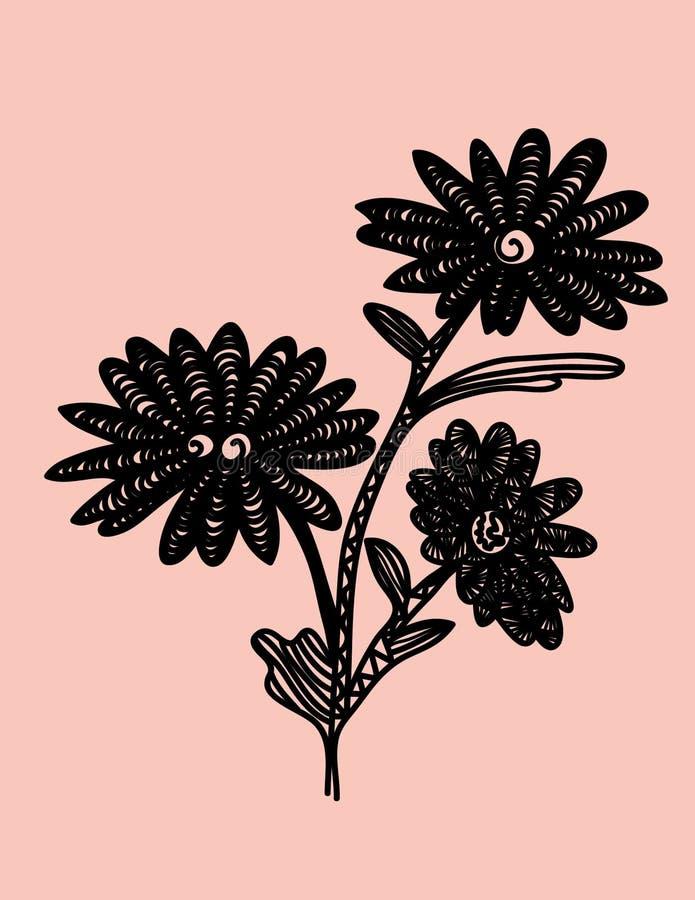 Fiore di colore di Zentangle immagini stock libere da diritti
