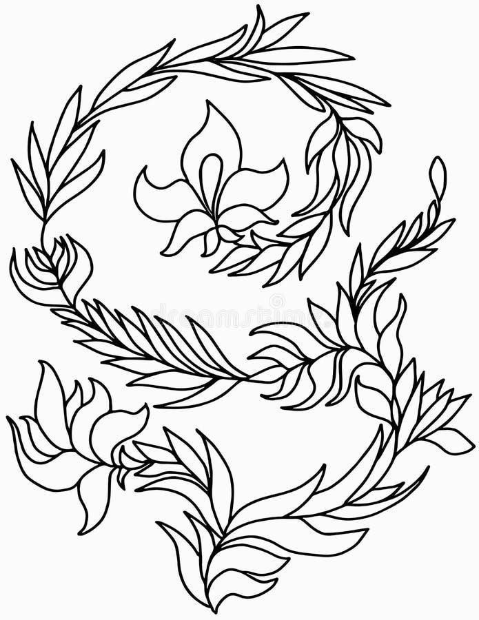 Fiore di fantasia con la curva del gambo e del fogliame fertile illustrazione di stock