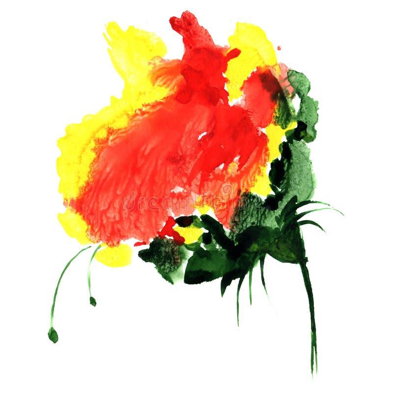 Fiore di fantasia dell'acquerello nel colore rosso e giallo Illustrazione disegnata a mano per progettazione, il tessuto ed il fo royalty illustrazione gratis