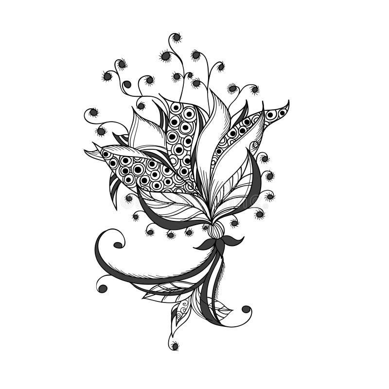 Fiore di fantasia, modello in bianco e nero del tatuaggio royalty illustrazione gratis