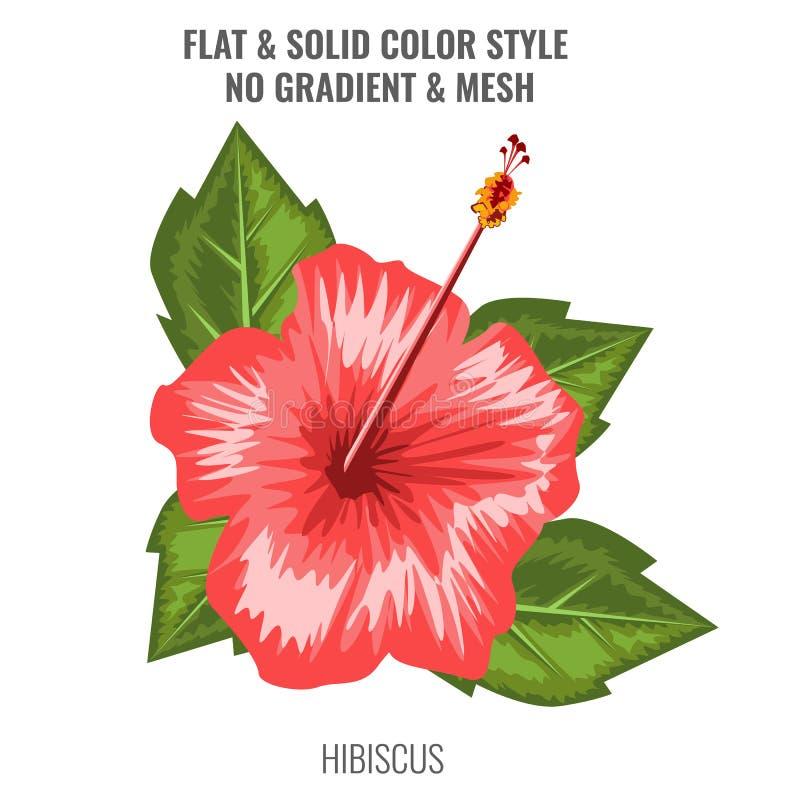 Fiore di fioritura dell'ibisco rosso con l'acquerello o lo stile disegnato a mano Progettazione di colore piano e solido Illustra illustrazione vettoriale