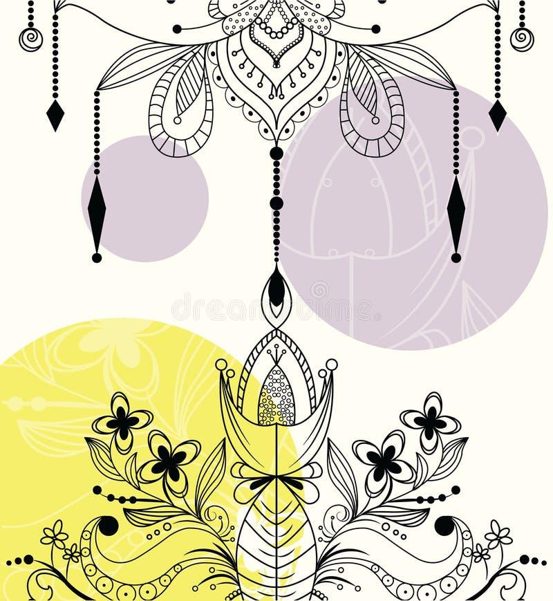 Fiore di loto ornamentale di Zentangle illustrazione vettoriale