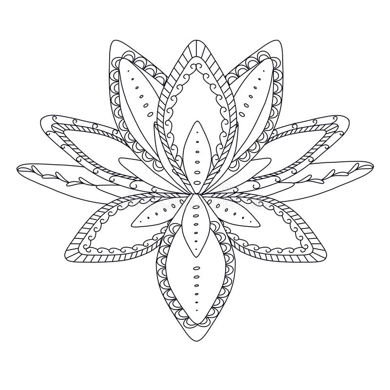 Fiore di loto ornamentale stilizzato monocromatico per il logo, per il tatuaggio, per il machindi illustrazione vettoriale