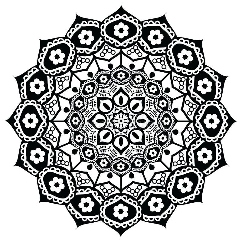 Fiore di Lotus che rappresenta significato: precisione, risveglio spirituale e purezza nel buddismo in bianco e nero nello stile  illustrazione di stock