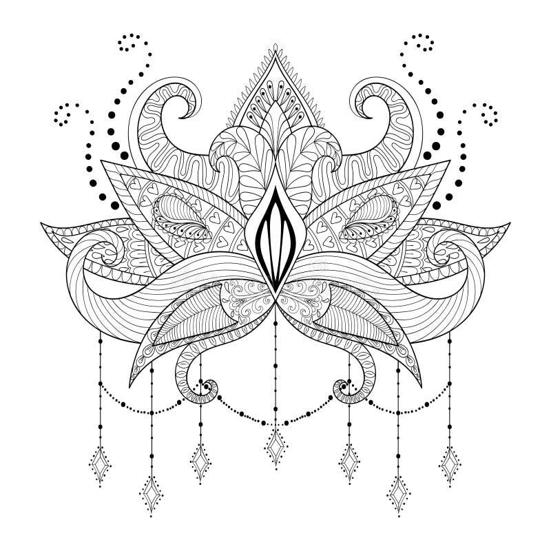 Fiore di Lotus di scarabocchio di Boho, progettazione del tatuaggio del blackwork royalty illustrazione gratis