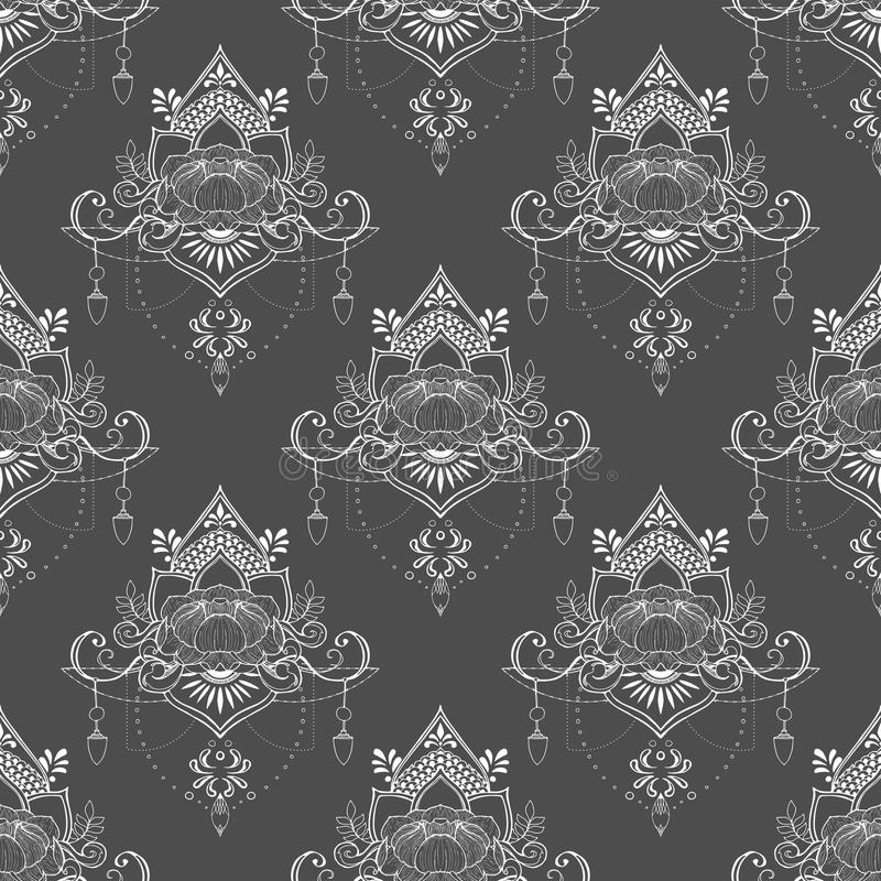 Fiore di Lotus nel modello senza cuciture di stile di meditazione della mandala nel tono grigio e bianco medio royalty illustrazione gratis
