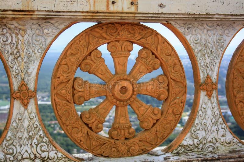 Fiore di pietra della ruota nei modelli nel colore arancio fotografia stock
