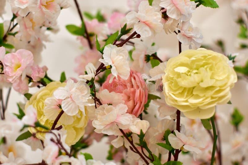Fiore di plastica di sakura di rosa della primavera che decora un giardino immagini stock