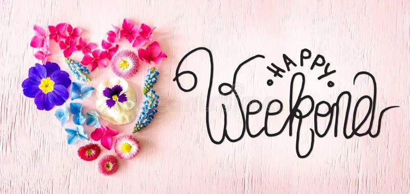 Fiore Di Primavera Cuore Di Blossoms, Calligraphy Happy Weekend immagini stock