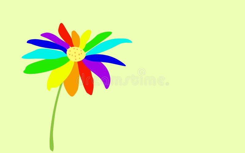 fiore di Sette-colore dipinto su un fondo delicatamente blu-chiaro Simbolo di LGBT illustrazione vettoriale