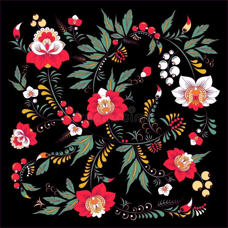Fiore di tiraggio della mano ed onda astratti di riserva, mazzo di scarabocchio royalty illustrazione gratis