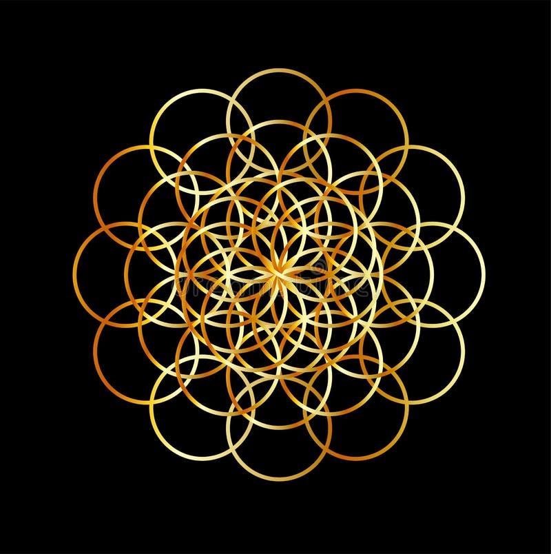 Fiore di vita nei colori dorati illustrazione di stock