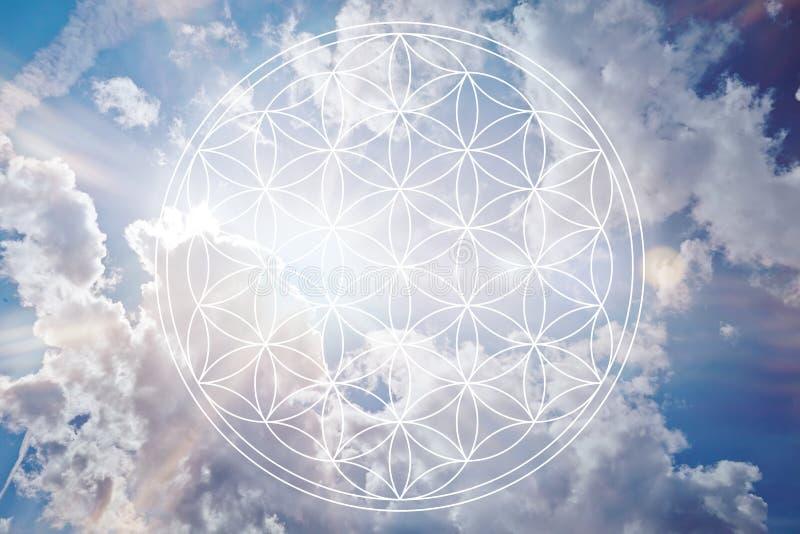 Fiore di vita nel cielo come segno di reiki immagine stock