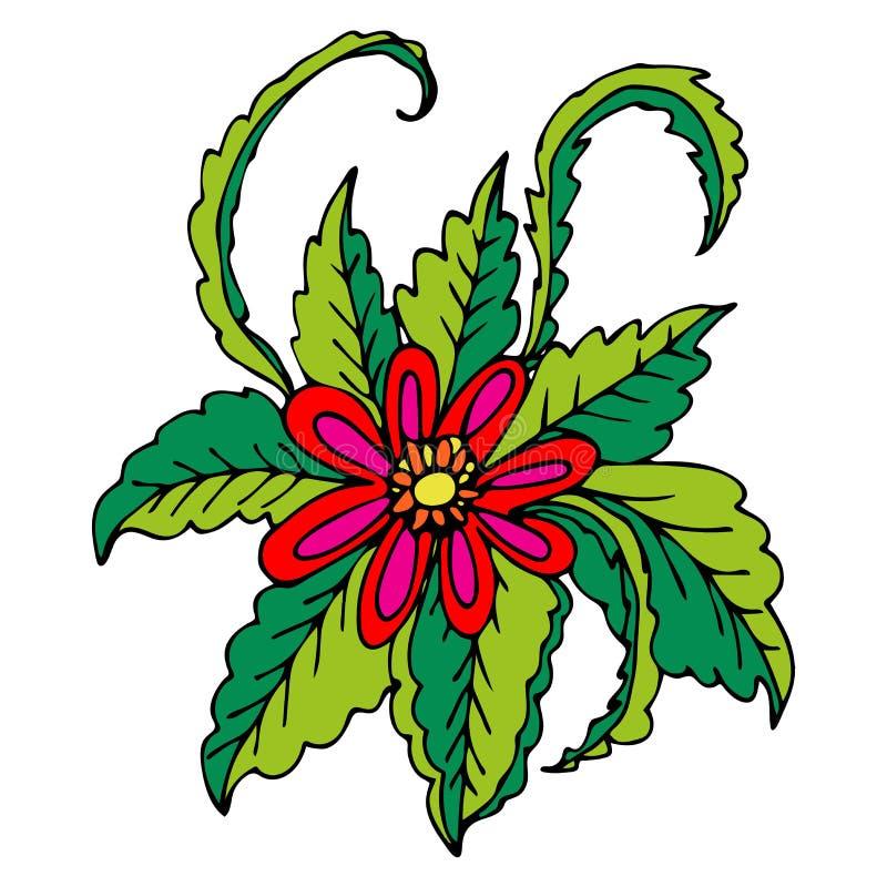 Fiore disegnato a mano rosso di fantasia con le foglie ricce verdi isolate royalty illustrazione gratis