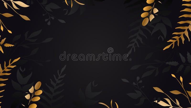 Fiore dorato su priorit? bassa nera Foglia di oro Opuscolo floreale, carta, vettore della copertura illustrazione di stock
