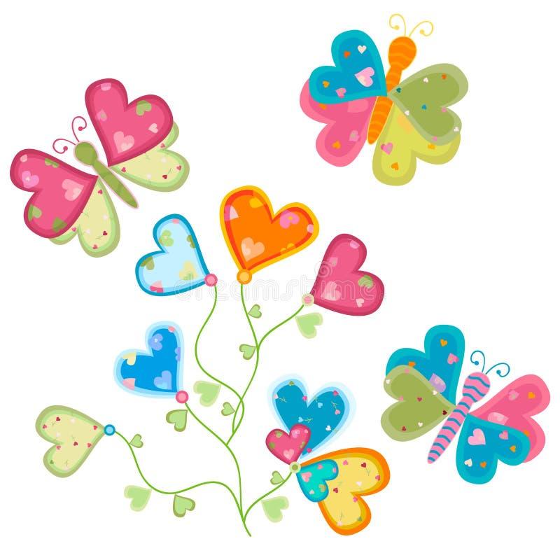 Fiore e farfalle di amore illustrazione di stock