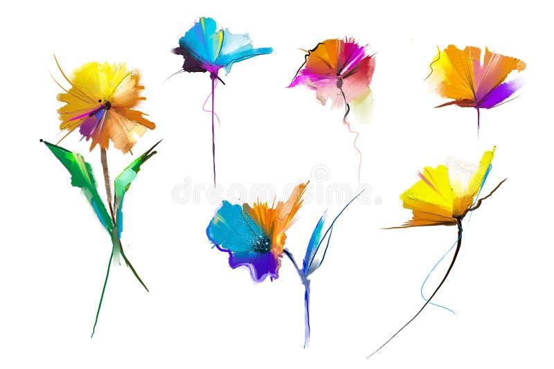 Fiore e foglia astratti della pittura a olio L'illustrazione isolata della molla, fiori dell'estate dipinge la progettazione sopr royalty illustrazione gratis