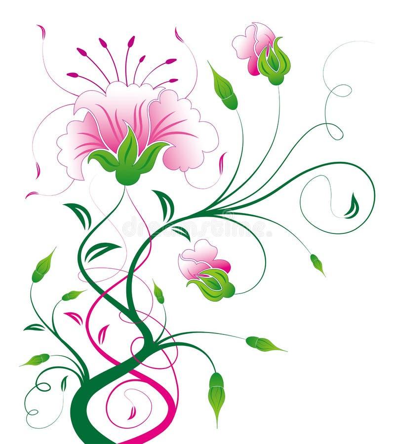 Fiore e viti dentellare illustrazione vettoriale