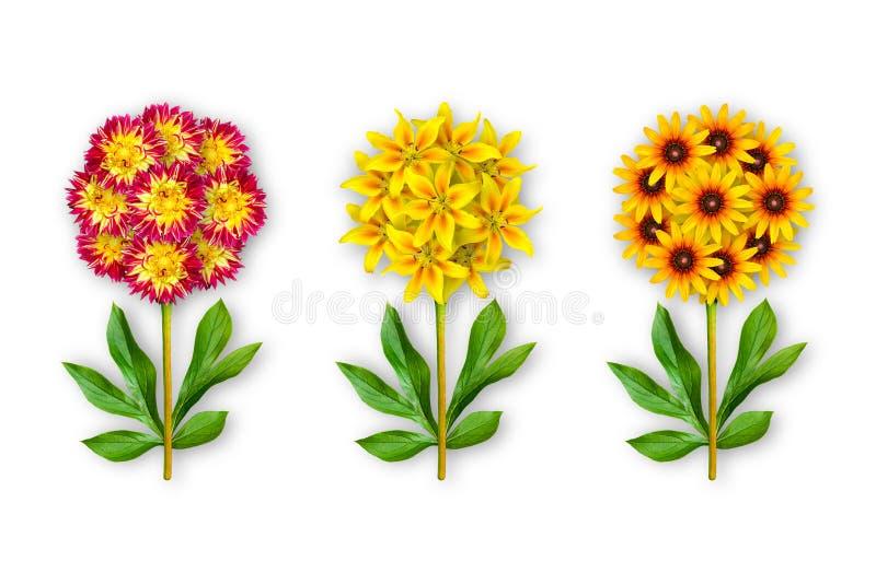Fiore fantastico tre su un fondo bianco La composizione delle dalie rosso-arancio, gigli e rudbecky gialli Oggetto di arte illustrazione vettoriale