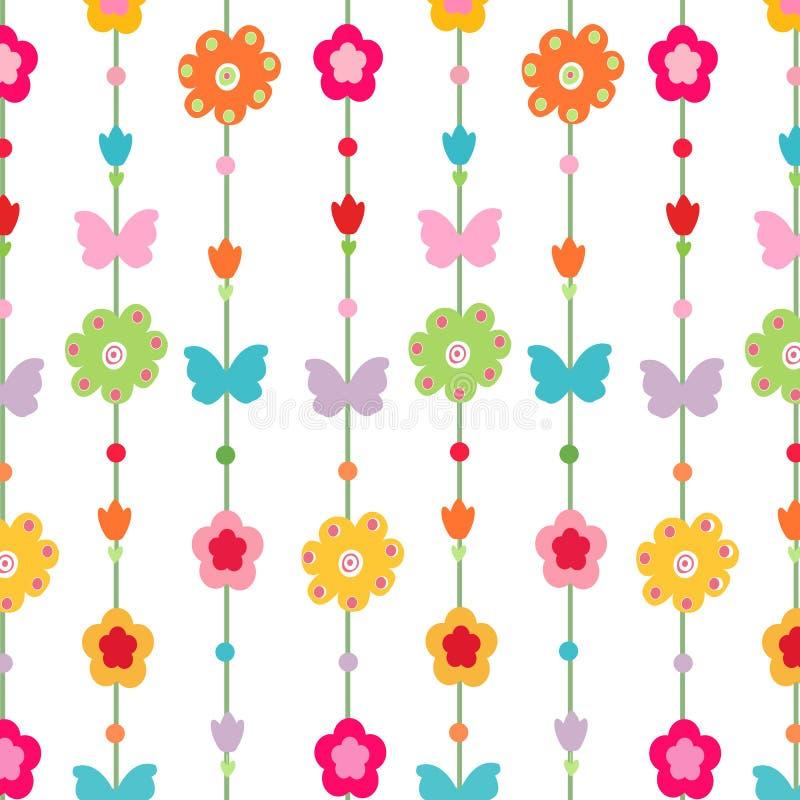 Fiore felice della molla, vettore della farfalla illustrazione di stock