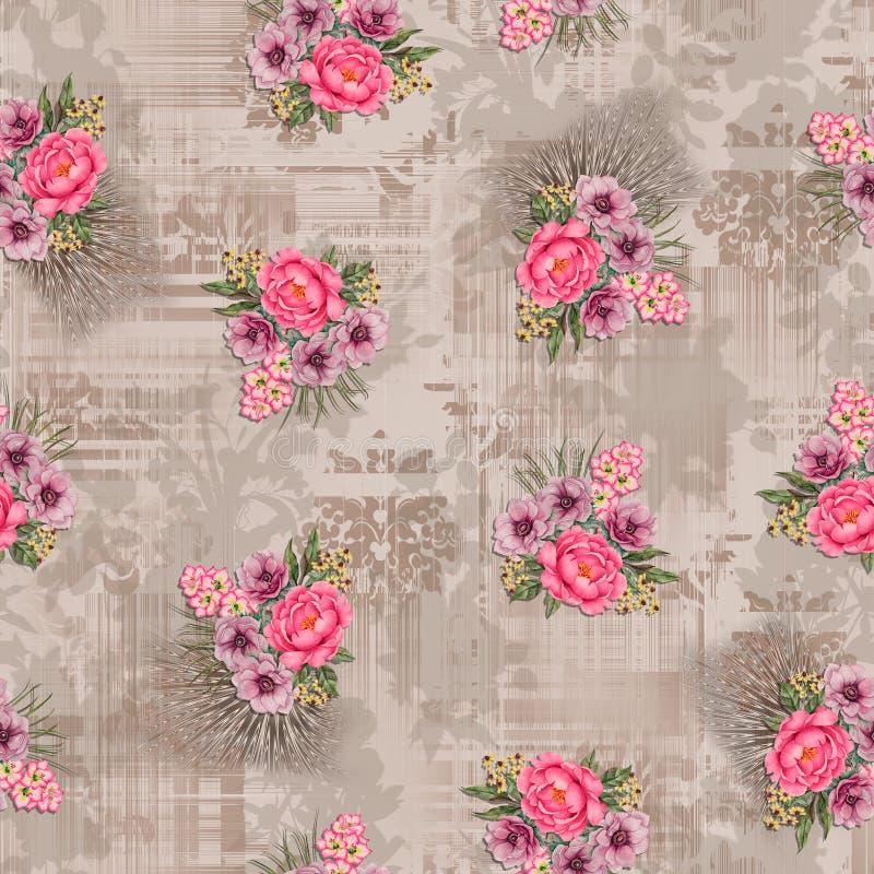 Fiore floreale senza cuciture con il fondo di struttura royalty illustrazione gratis