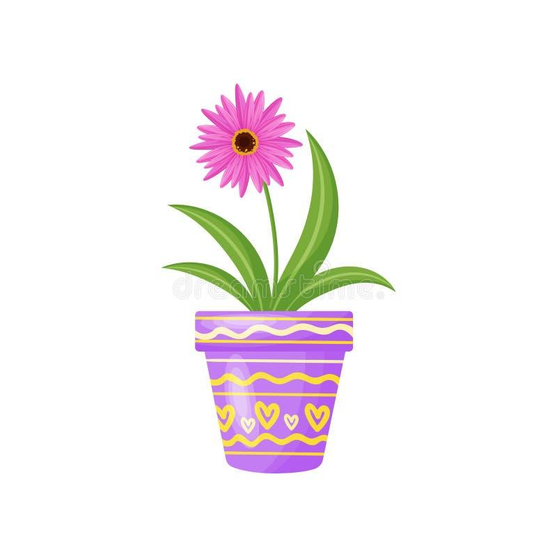 Fiore in flowerpot su priorità bassa bianca Illustrazione di vettore royalty illustrazione gratis