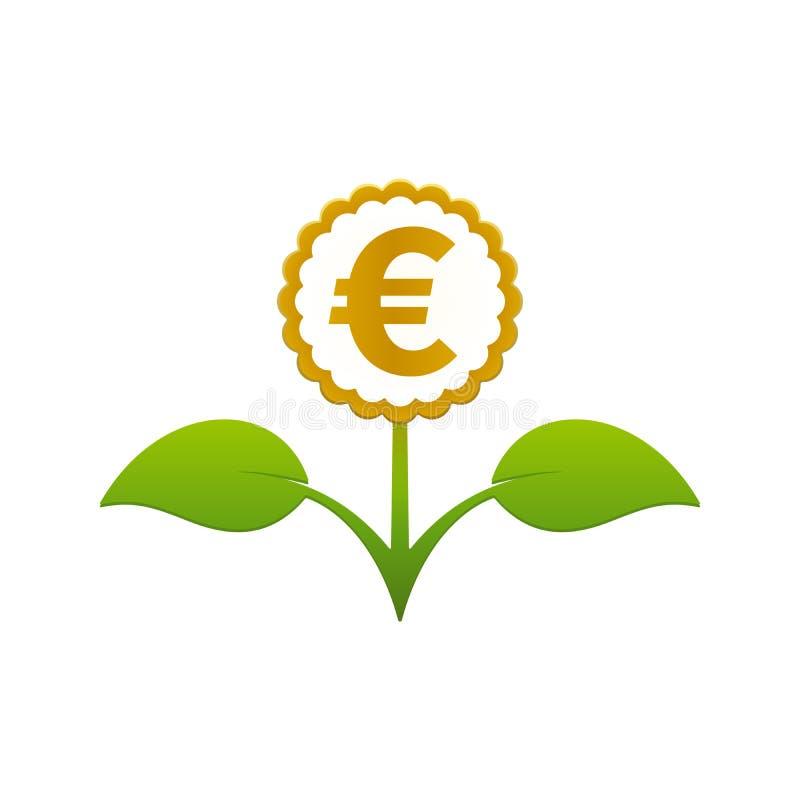 Fiore frondoso verde con l'euro simbolo illustrazione vettoriale