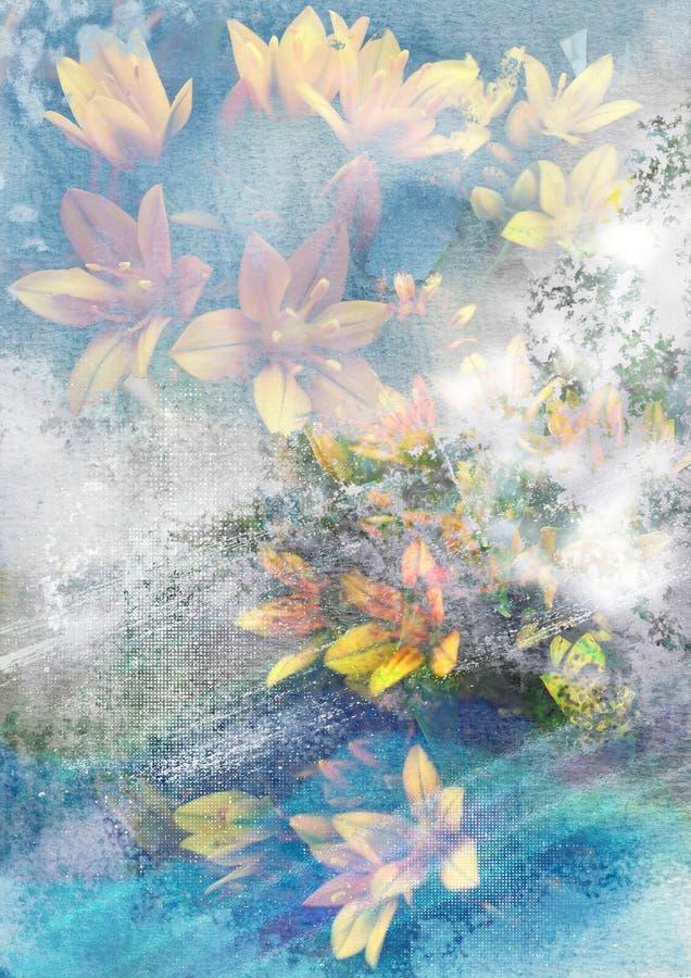 Fiore giallo con fondo astratto, fondo astratto della natura, tema floreale misterioso, fondo romantico di sogno illustrazione di stock