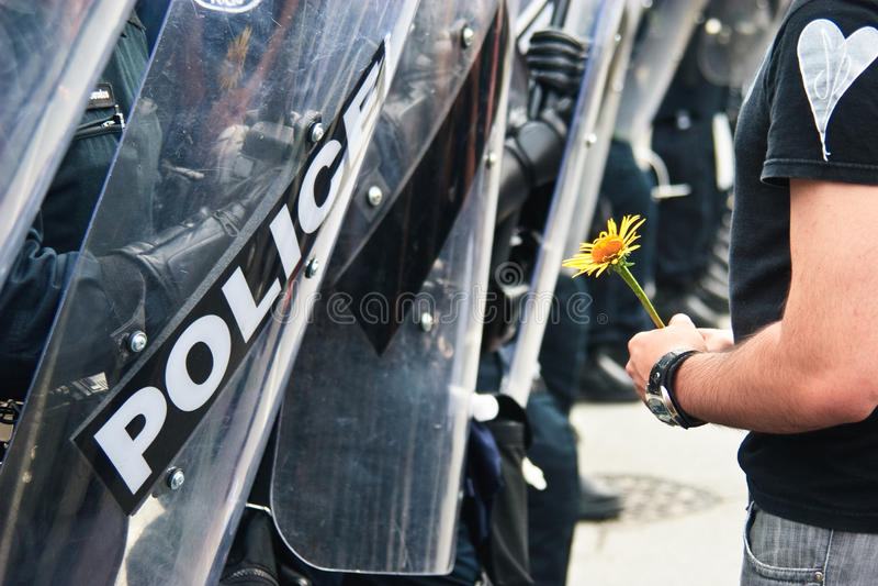 Fiore giallo e protesta della polizia G8/G20 immagini stock libere da diritti