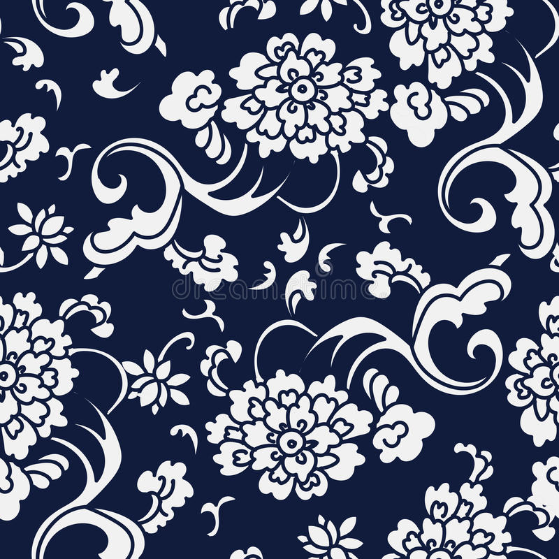 Fiore giapponese blu senza cuciture Vin della curva di spirale del giardino del fondo illustrazione di stock