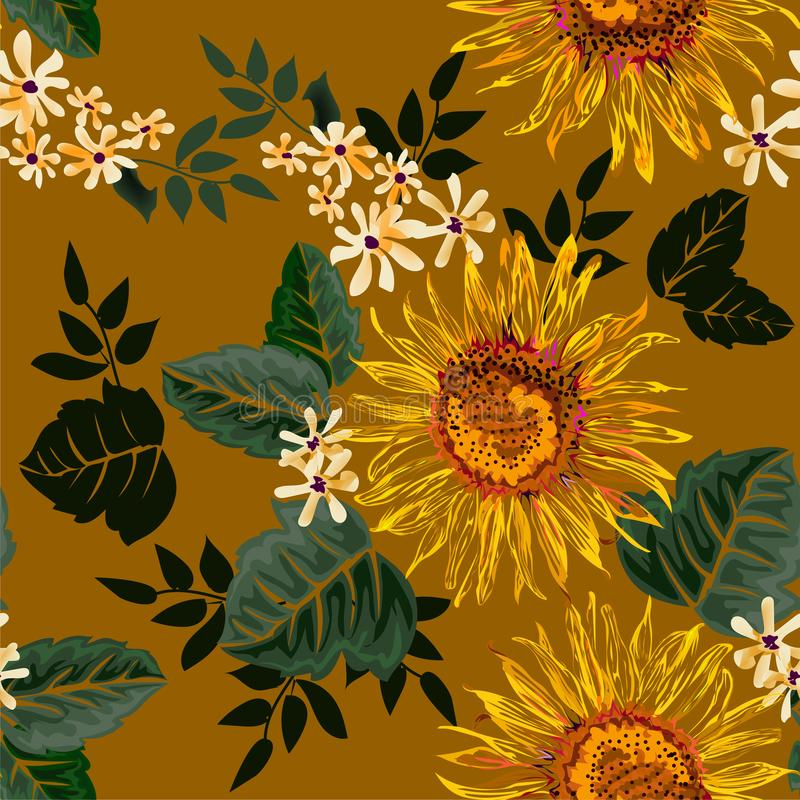 Fiore grafico senza cuciture del sole e fiori bianchi con le foglie verdi su fondo giallo-chiaro, illustrazione di vettore royalty illustrazione gratis