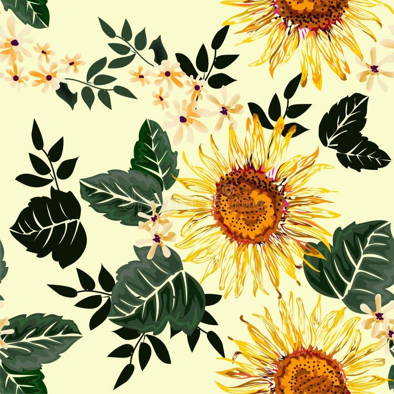 Fiore grafico senza cuciture del sole e fiori bianchi con le foglie verdi su fondo giallo-chiaro, illustrazione di vettore illustrazione di stock