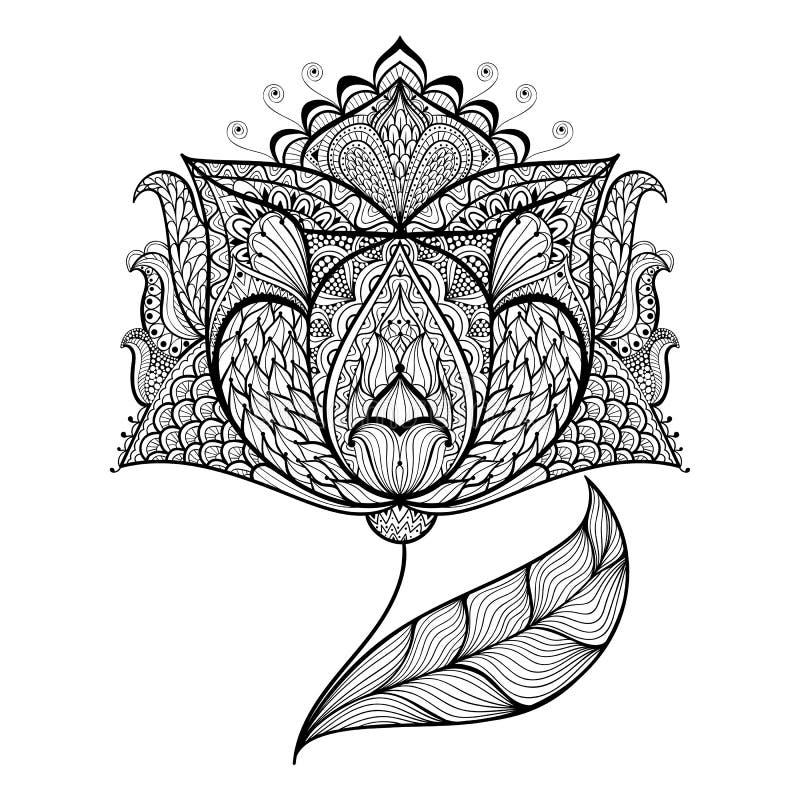 Fiore magico disegnato a mano per la pagina antistress di coloritura illustrazione di stock
