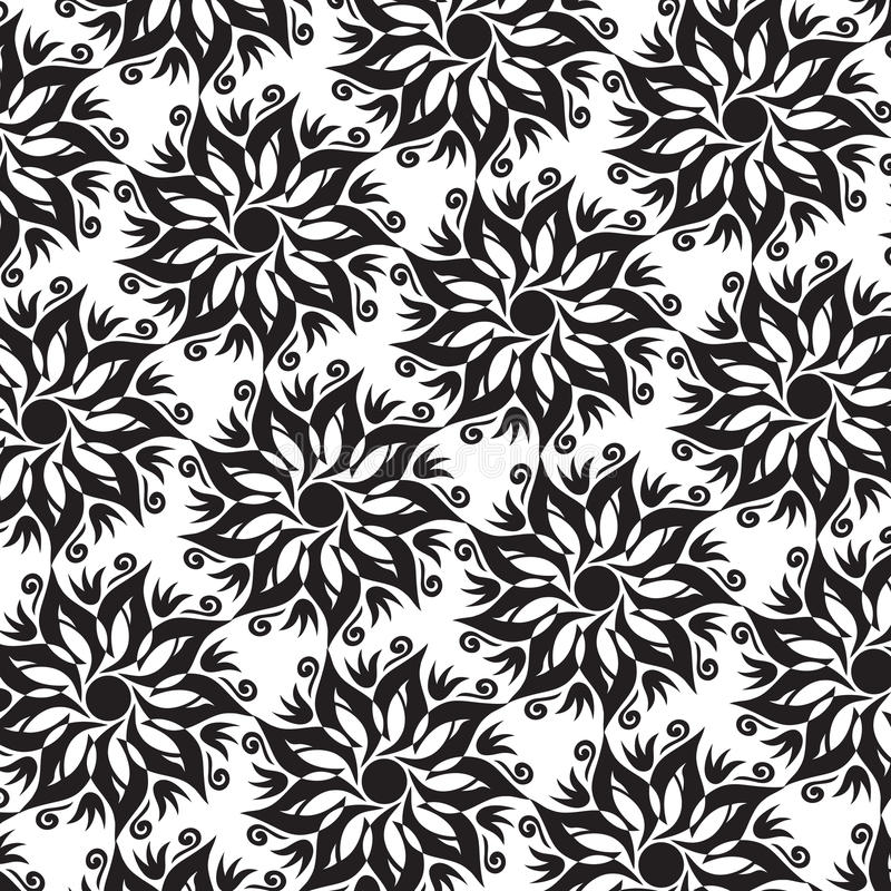 Fiore Mandala Seamless Pattern - colori in bianco e nero royalty illustrazione gratis