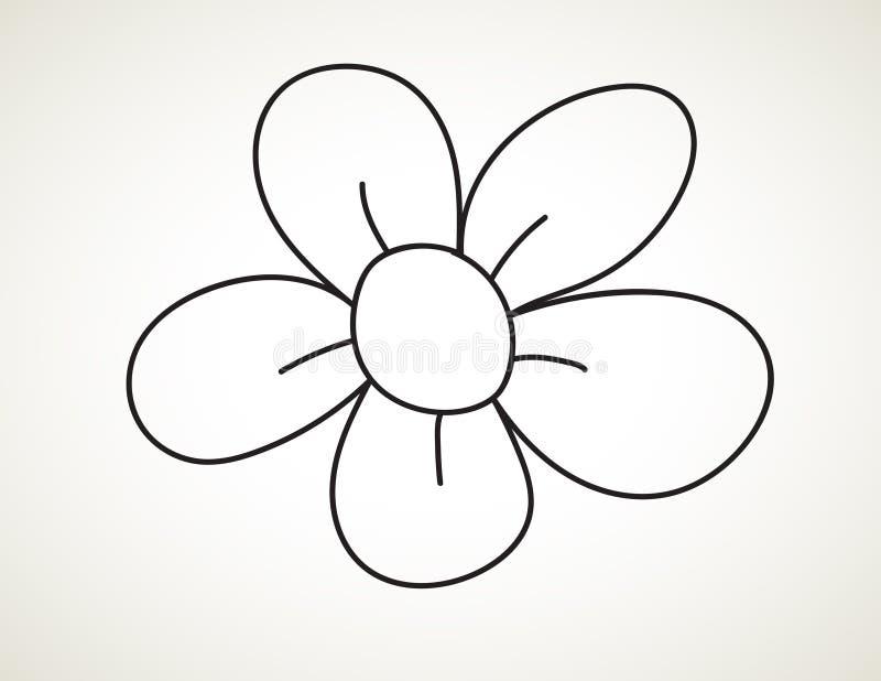 Fiore nero di arte dell'inchiostro illustrazione di stock