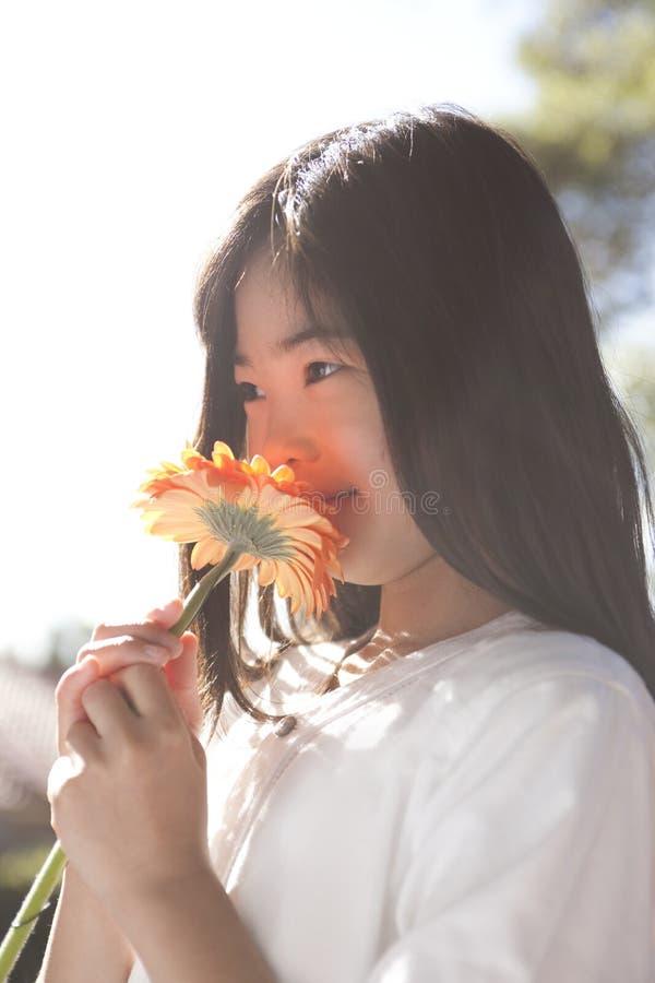 Fiore odorante della ragazza asiatica all'aperto fotografie stock