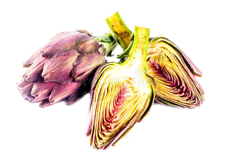 fiore organico fresco del carciofo fotografie stock